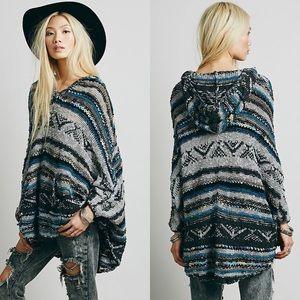 Free People Bubble Tea Poncho Sweater